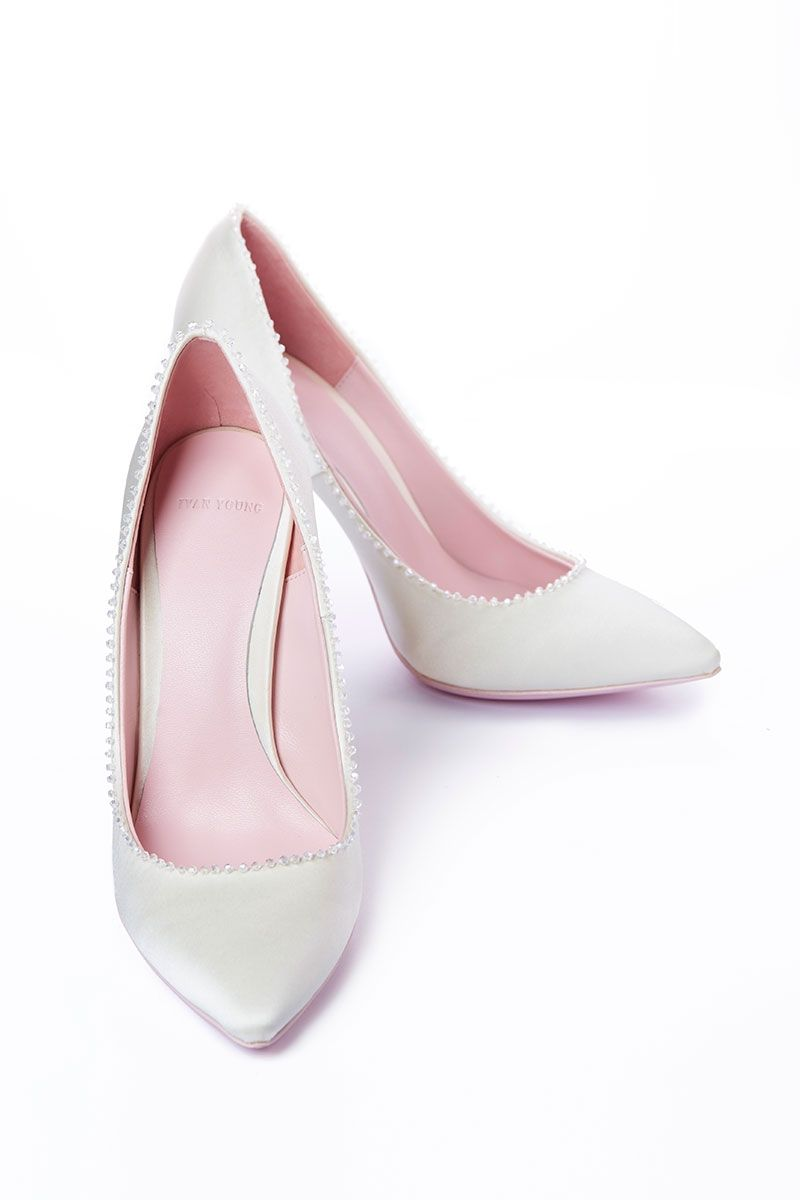 100 Crystal trimmed Silk Pump White
