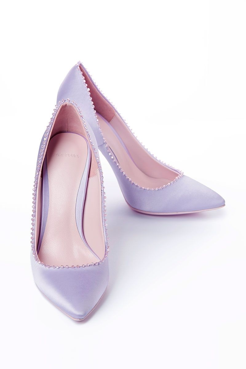 100 Crystal Trimmed Silk Pump Lilac