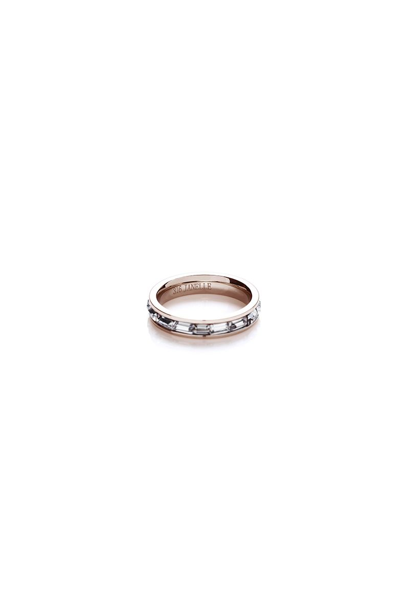 The Sleek Horizontal Eternity Stone Ring Rose Gold